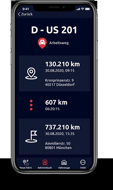 Screenshot Fahrtenbuch iPhone